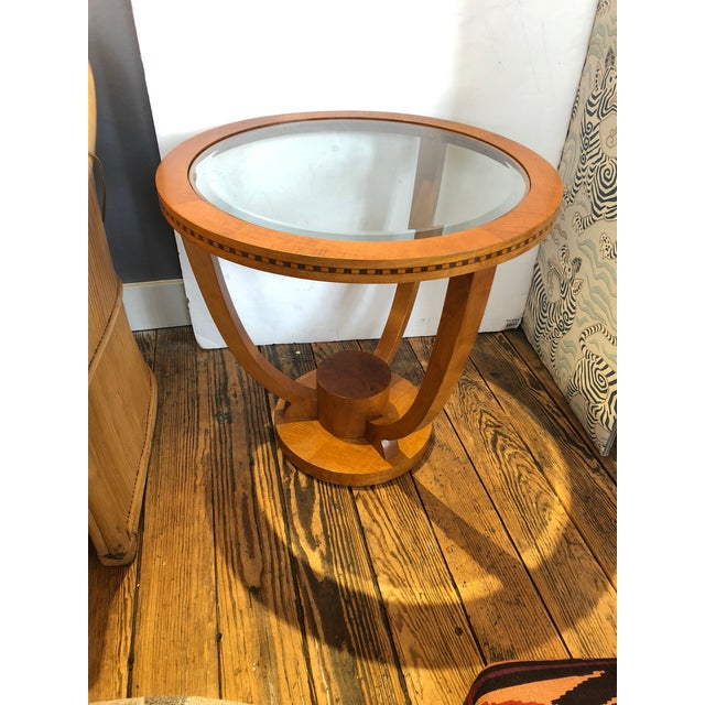 Wood Art Deco Wood and Bevelled Glass Round End Table For Sale - Image 7 of 7