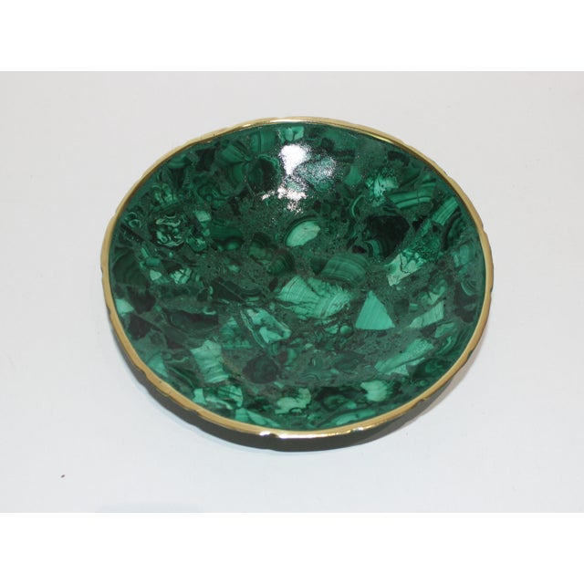 Hand-Crafted Malachite Bowl With Scalloped Brass Edging from a Palm Beach estate NOTE: the last picture shows the bowl in...