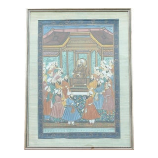 Indo Persian Painting on Gilded Frame For Sale
