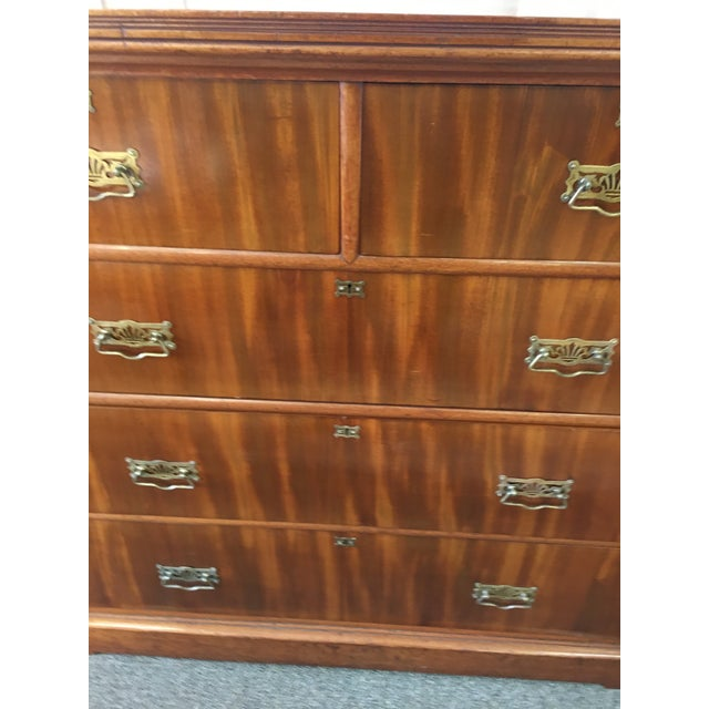 English Antique Flamed Mahogany 2 Over 3 Chest of Drawers. Chest has wood scroll with grooved molding on both sides. Brass...