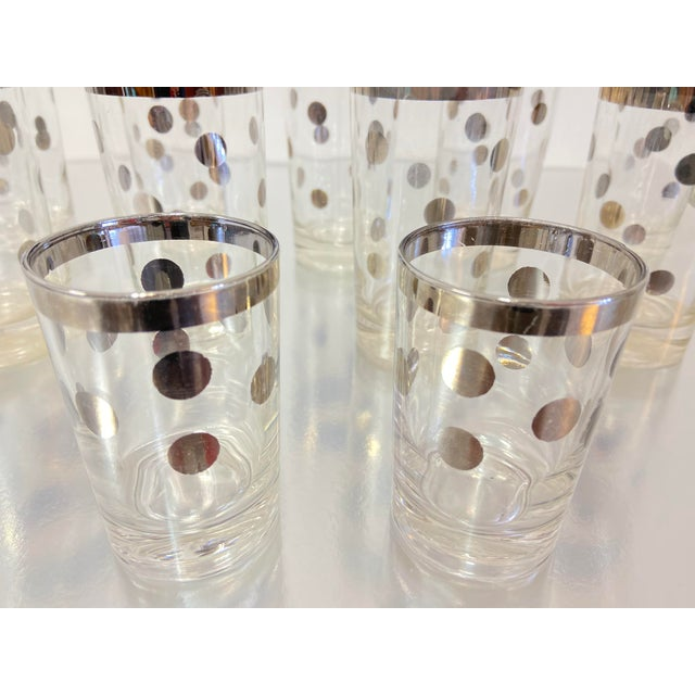 Mid-Century Modern Dorothy Thorpe Silver Polka Dot Tumbler Glasses - Set of 11 For Sale - Image 3 of 7