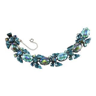 Regency Bracelet Blue Rhinestones & Cabochons For Sale