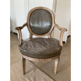 Vintage Mid Century Don Rousseau Louis XVI-Style Leather Upholstered Carved Beechwood Fauteuils - Set of 8 Preview