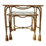 Image of Italian Gilded Tassle Nesting Tables - Set of 2 For Sale