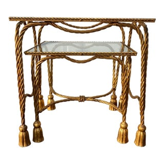 Italian Tole Gilded Tassel Nesting Tables - Set of 2 For Sale
