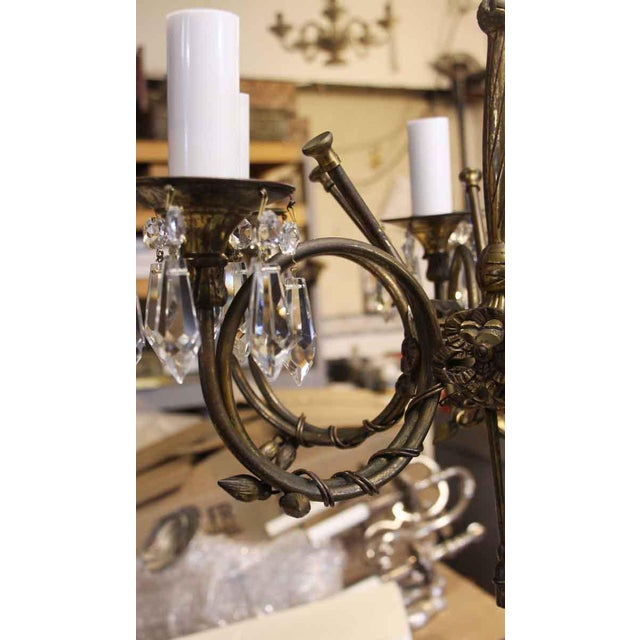 Bronze & Swarovski Crystal 6 Arm Petite Chandelier For Sale In New York - Image 6 of 10