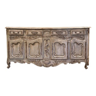 Early 20th Century French Louis XV Carved Painted Four-Door Buffet From Provence For Sale