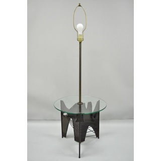 Harry Balmer for Laurel Brutalist Steel Floor Lamp With Round Glass Side End Table Preview