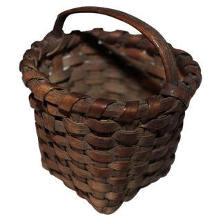 19th Century Miniature Basket With Original Surface For Sale