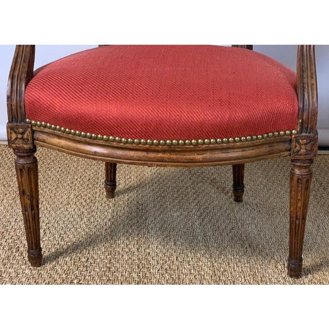 Red Pair of French Louis XVI Beechwood Fauteuils For Sale - Image 8 of 12