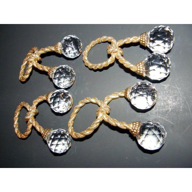 Hollywood Regency Regency Crystal Prism Napkin Rings - Set of 4 For Sale - Image 3 of 5