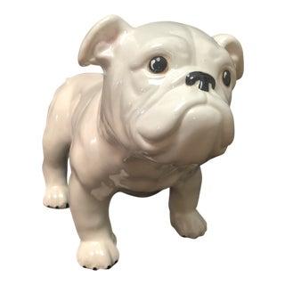 Vintage White Ceramic Bulldog For Sale