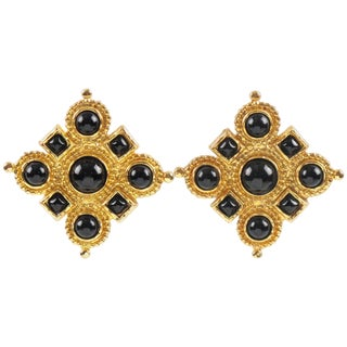 Edouard Rambaud Paris Signed Byzantine Clip-On Earrings Black Cabochon For Sale