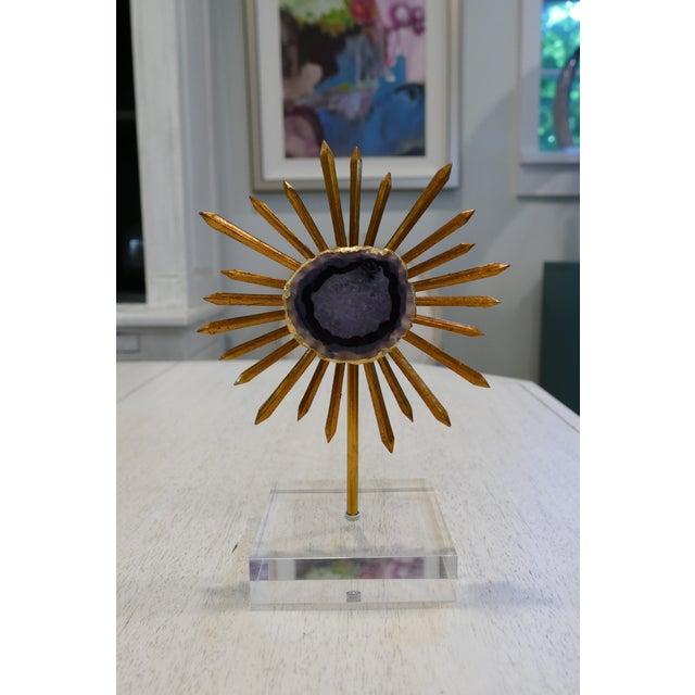 2010s Agate & Gold Leaf Starburst Tabletop Sculptures - Set of 3 For Sale - Image 5 of 9