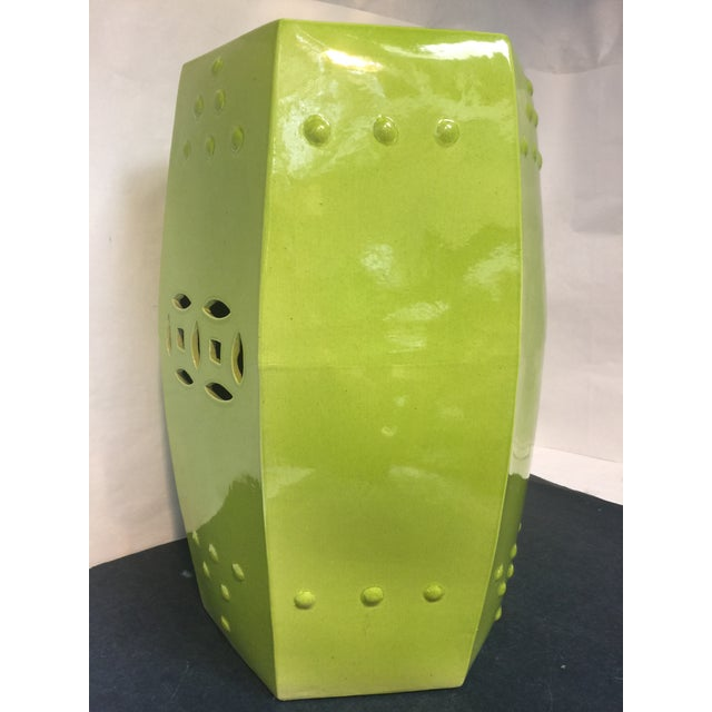 Ceramic Asian Style Chartreuse Garden Stool For Sale - Image 7 of 10