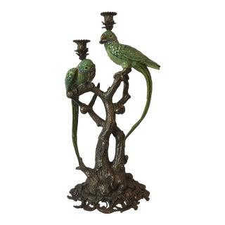 1960s Vintage Bronze Figural Parakeets Candelabra For Sale