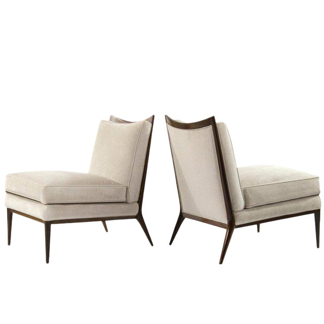 Wanut Frame Slipper Chairs by Paul McCobb for Directional - a Pair For Sale