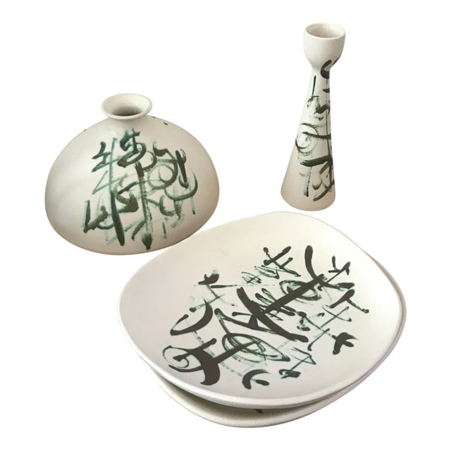 Sascha Brastoff Ceramic Set - 3 Pieces For Sale