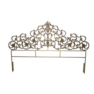 Baroque Style Gold Gilt Iron King Size Headboard For Sale