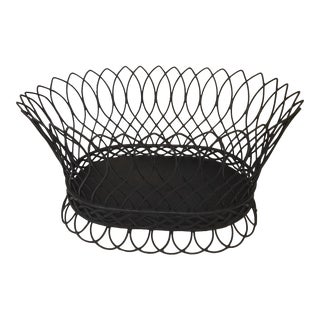 Late 20th Century Oval Black Wireware Cachepot For Sale