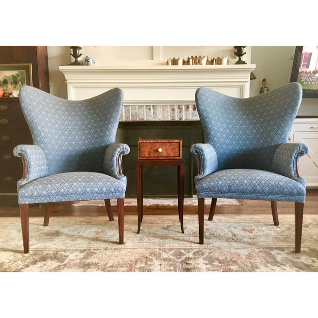 Hollywood Regency Vintage Mid Century Butterfly Wingback Chairs - a Pair For Sale - Image 3 of 7