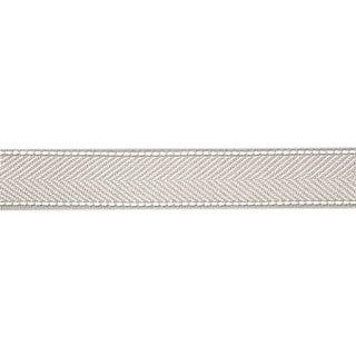 Sample, Scalamandre Montauk Herringbone Tape, Silver Grey Fabric For Sale
