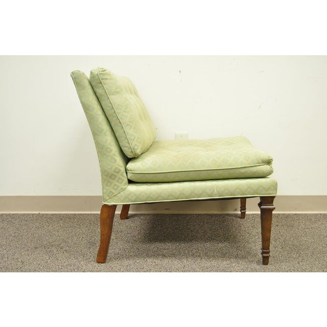 Mid 20th Century Vintage Hollywood Regency Green Upholstered & Wood Slipper Accent Side Chair For Sale - Image 5 of 10