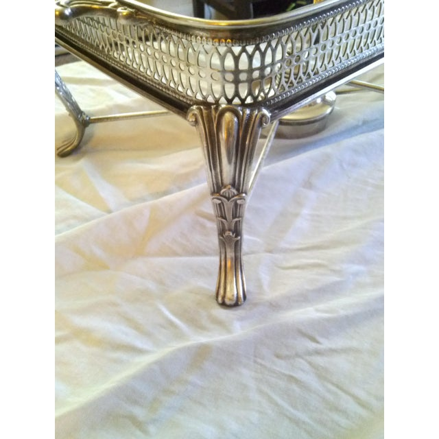 Traditional Vintage Silver Plate Covered Chafing Set With Alcohol Burner - Set of 3 For Sale - Image 3 of 5