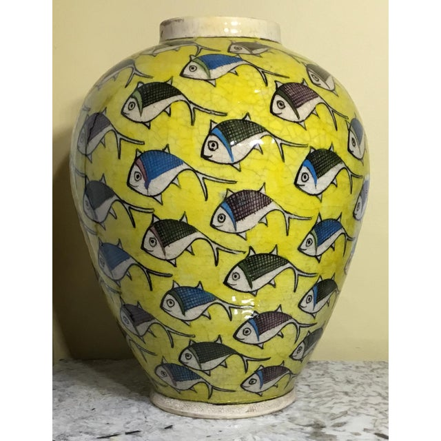 1960s Contemporary Persian Large Yellow Ceramic Fish Vase For Sale - Image 10 of 13