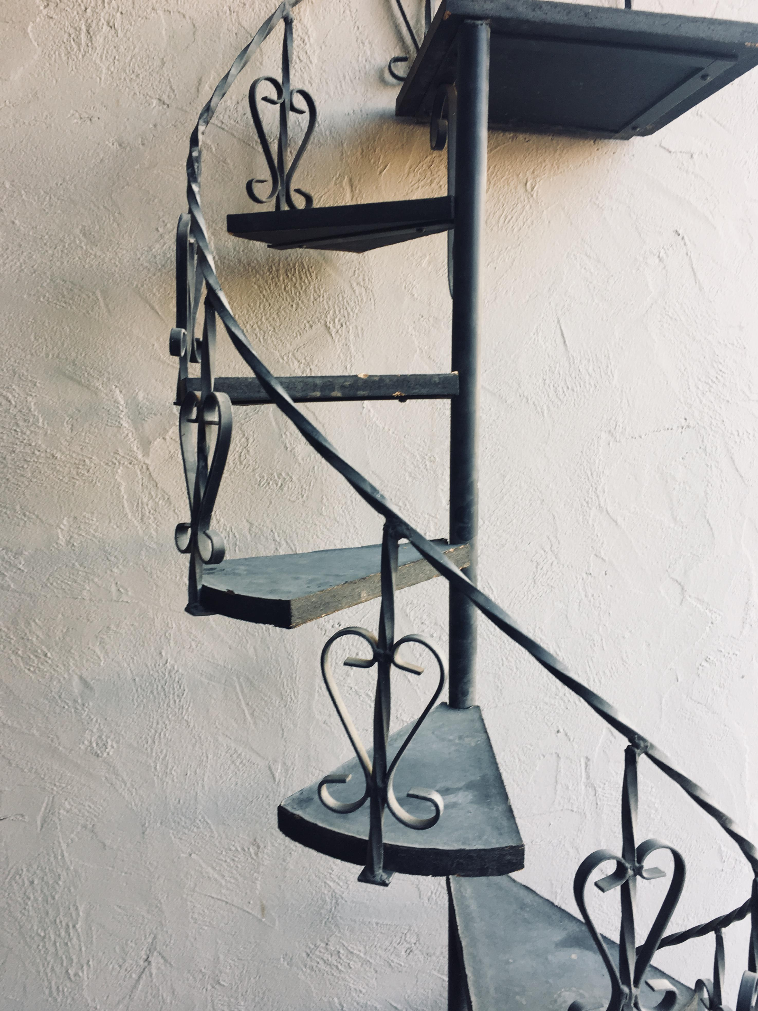 Metal Vintage Wrought Iron Spiral Staircase Plant Stand Garden Art For Sale    Image 7 Of
