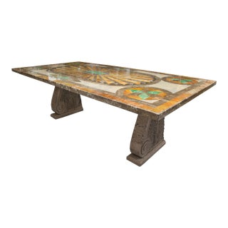 Italian Scagliola Marble-Table on Concrete Plinths For Sale