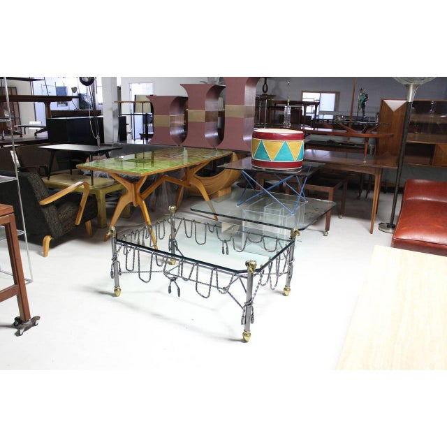 Mid-Century Modern Ornate Wrought Iron Brass and Glass Coffee Table For Sale - Image 3 of 8
