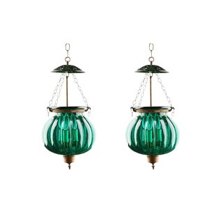 Green Glass Bell Jar Lanterns - A Pair