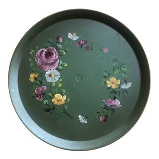 Vintage Floral Tole Pedestal Tray For Sale