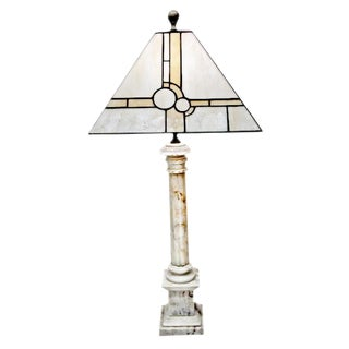 Mid-Century Marble & Stained Glass Table Lamp For Sale