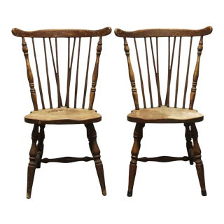 Wood Spindle Back Kitchen Dining Chairs- a Pair For Sale