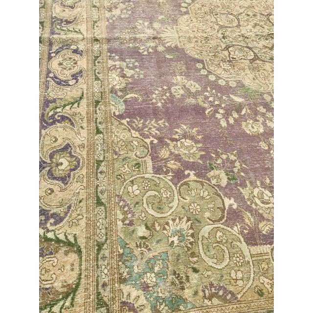 Purple Large Antique Turkish Plum, Green, Beige Wool Rug - 9′5″ × 12′5″ For Sale - Image 8 of 13