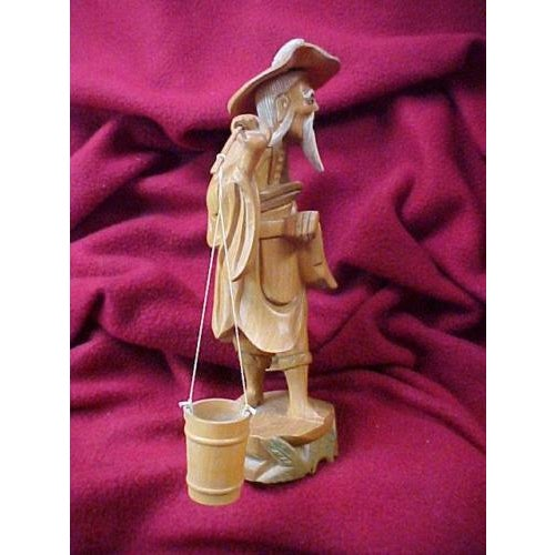 Wood Hand Carved Asian Water Bearer For Sale - Image 7 of 8