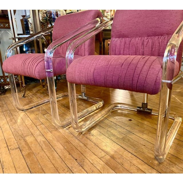 1970s Lucite Hollywood Regency Style Chairs-a Pair For Sale - Image 9 of 13