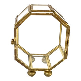 Mid-Century Modern Brass & Glass Mini Curio Box For Sale