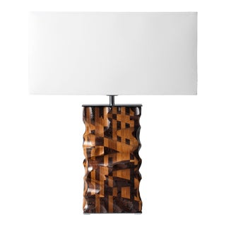 Mixed Woood Table Lamp From Pitsikas with Shade For Sale