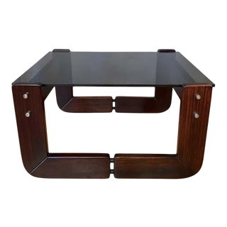 Percival Lafer Rosewood and Smoke Glass Side Table, 1970s For Sale
