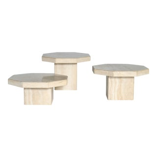 Trio of Travertine Tables With Hexagon Shape-Tops For Sale