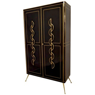 Late 1970s Italian Art Deco Design Brass and Black Glass Tall Cabinet/Armoire For Sale