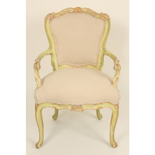 Pair of antique Louis XV style painted and gilt decorated armchairs, late 19th century. These chairs have old original...