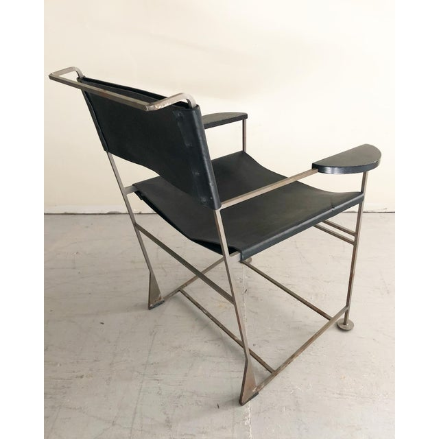 1980s Kevin Walz Post Modern Leather & Iron Lounge Chairs- A Pair For Sale - Image 5 of 8