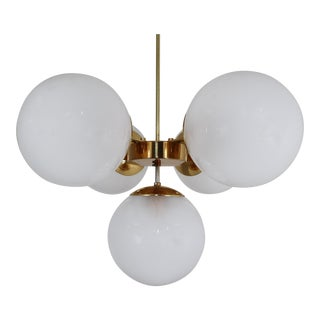 Mid-20th Century Brass Chandelier With Five Hand Blown Pearl Globes For Sale