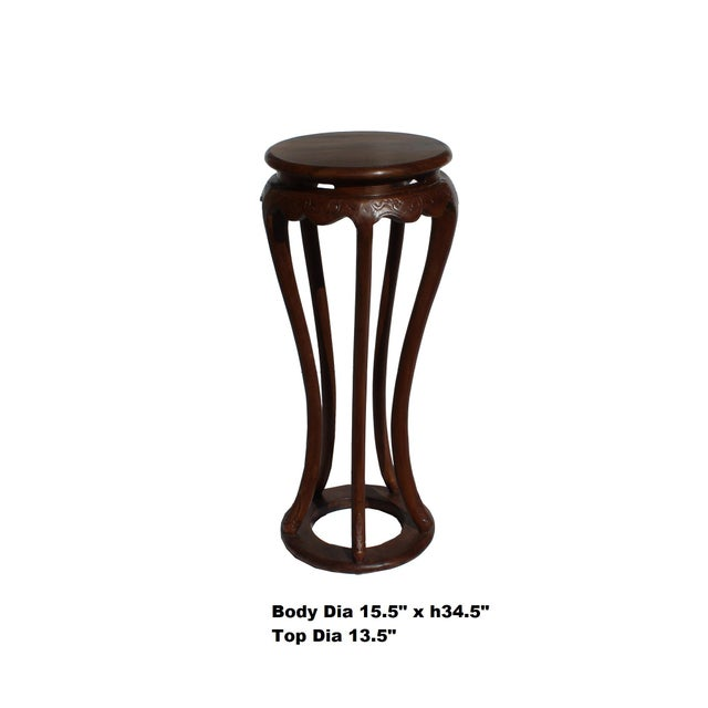 Chinese Brown Tall Round 5 Legs Plant Stand Pedestal Table For Sale - Image 4 of 7