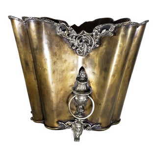 Art Nouveau Footed Brass Champagne Bucket With Handles For Sale