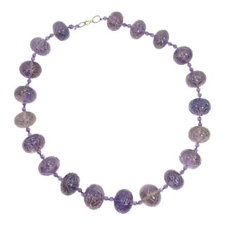 Art Deco Chinese Carved Amethyst Bead Necklace, 1920s For Sale